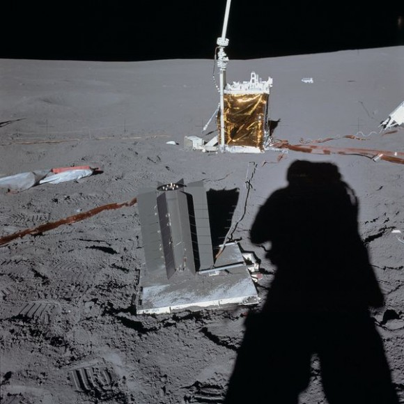 An RTG (in the foreground on the pallet) left on the Moon by astronauts during Apollo 14.  (Credit: NASA/Alan Shepard).