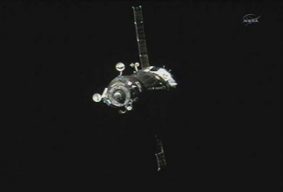 Screen capture from NASA TV of the Soyuz approaching the International Space Station with the Expedition 35/36 crew. Via NASA TV