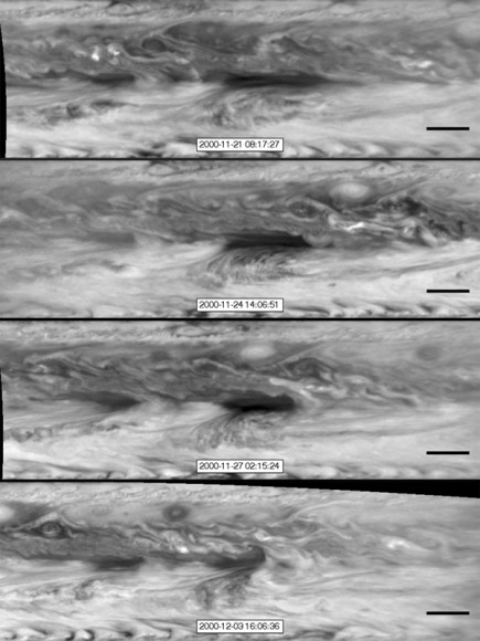 In this series of images from NASA's Cassini spacecraft, a dark, rectangular hot spot (top) interacts with a line of vortices that approaches from on the upper-right side (second panel). Image credit: NASA/JPL-Caltech/SSI/GSFC