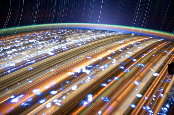 One of many long-exposure images taken by Don Pettit aboard the ISS (NASA/JSC). See more here.