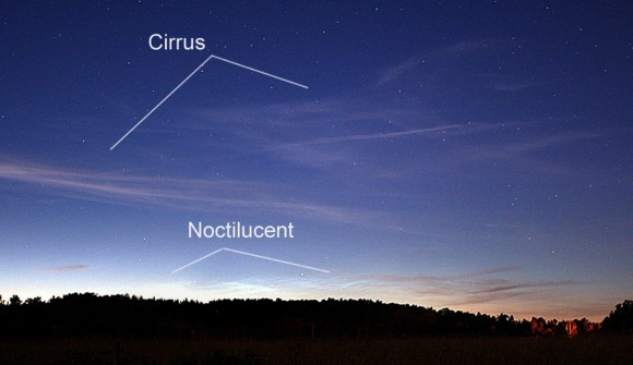 Cirrus clouds often look like fine streaks compared to the pleated, wavy appearance of NLCs. Credit: Bob King