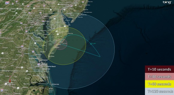 Visibility map for Black Brant V rocket launch on June 24 at 9:30 a.m.  Credit: NASA Wallops