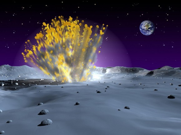 An artist's illustration of a meteoroid impact on the Moon. (Credit: NASA).