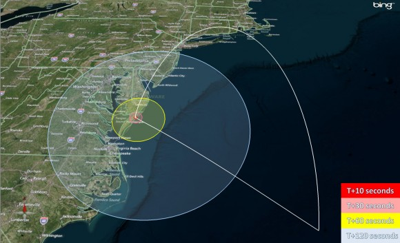 Launch visibility map for the CIBER payload launch from NASA Wallops, Va, on June 4, 2013 at 11 PM EDT. Credit: NASA