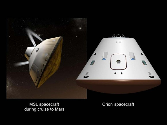 Mars Cruise Vehicles. This graphic shows a comparison of NASA's Mars Science Laboratory (MSL) cruise capsule and NASA's Orion spacecraft, which is being built now at NASA's Johnson Space Center and will one day send astronauts to Mars. The rover Curiosity is tucked inside of the Mars Science Laboratory cruise vehicle like human beings would be tucked inside Orion.  MSL are Orion are similar in size.  Credit: NASA/JPL-Caltech/JSC