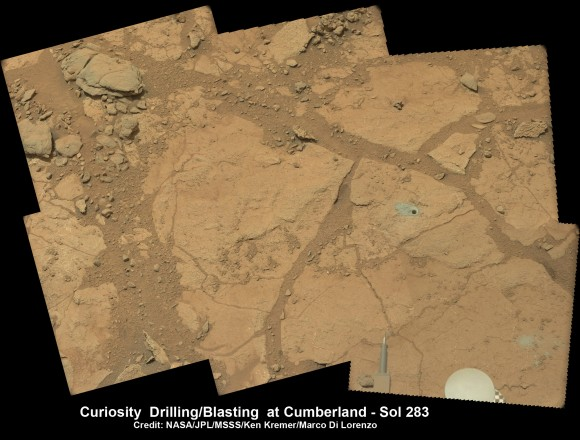Context view of Curiosity's 2nd drill site at Cumberland rock on the floor of Yellowknife Bay basin of ancient water altered rocks where the rover found environmental conditions favorable for microbial life. Mastcam images on May 23, 2013, Sol 283.  Credit: NASA/JPL-Caltech/MSSS/Ken Kremer (kenkremer.com)/Marco Di Lorenzo