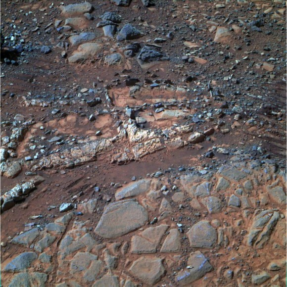 """'Esperance' Target Examined by Opportunity in May 2013.  The  pale rock called """"Esperance,"""" has a high concentration of clay minerals formed in near neutral water indcating a spot favorable for life. Credit: NASA/JPL-Caltech/Cornell Univ./Arizona State Univ."""