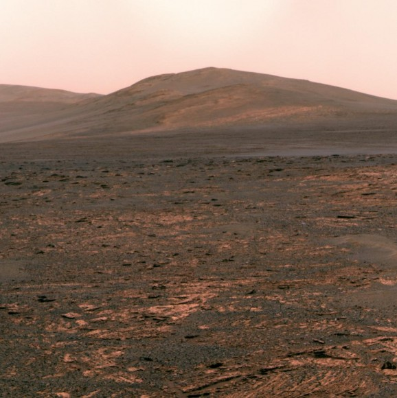 Opportunity snapped this color view of 'Solander Point' on June 1, 2013 (Sol 3325) looking south to her next destination which she should reach in august. The solar powered robot will spend the upcoming 6th winter season on northerly tilted slopes exploring the thick strata of ancient rocks. Credit: NASA/JPL-Caltech/Cornell Univ./Arizona State Univ.