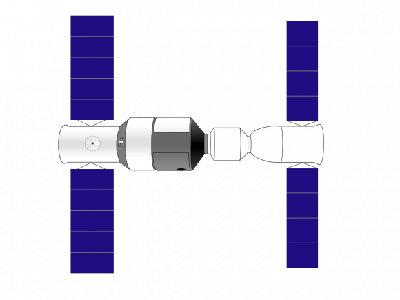 Diagram of Shenzhou-10 (right) docked with Tiangong-1 (left). Via Wikimedia Commons.