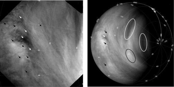 Long-term studies based on tracking the motions of several hundred thousand cloud features, indicated here with arrows and ovals, reveal that the average wind speeds on Venus have increased from roughly 300 km/h to 400 km/h over the first six years of the mission. (Khatuntsev et al.)