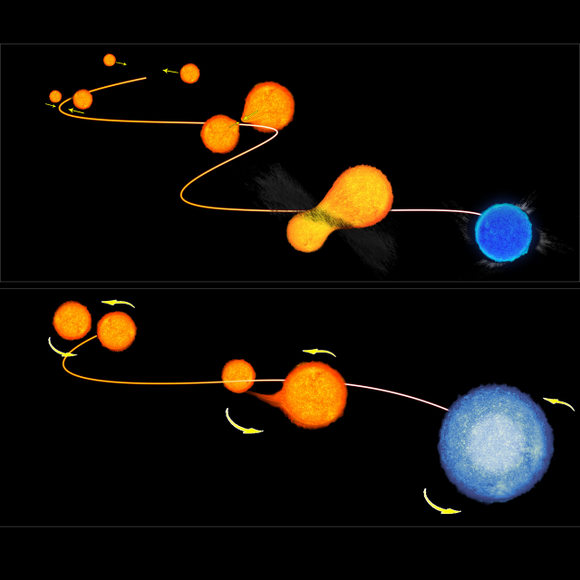 An artist's conception of how a blue straggler may form from a binary system. Credit:NASA/ESA