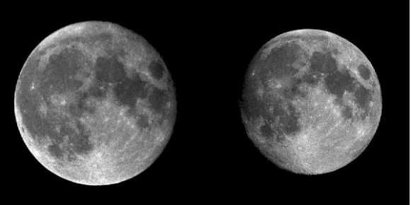 Can you see the difference? A side by side comparison of the perigee and apogee Moon. (Credit: Inconstant Moon).