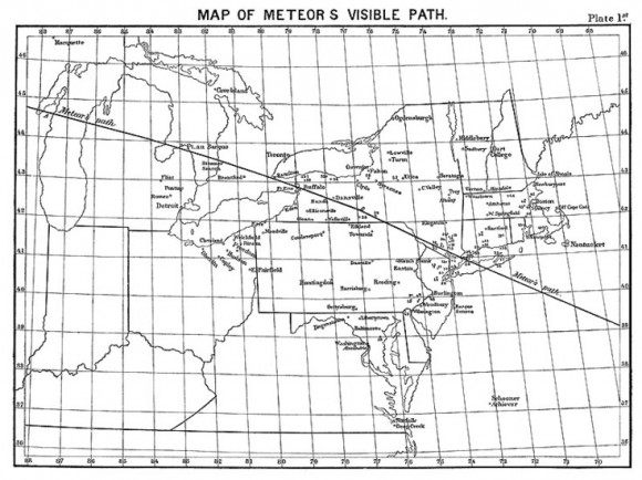 Path of the Meteor Procession of 1860 as depicted in the newspapers of the day. (From the collection of Don Olson).