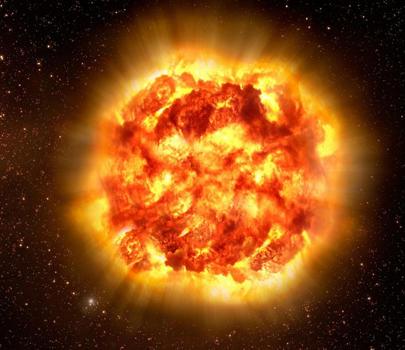 When a massive star runs out of nuclear fuel in its core, the energy that has prevented the force of gravity from crushing the star is gone. Gravity now finally wins and collapses the star which then rebounds in a huge explosion. Credit: ESO