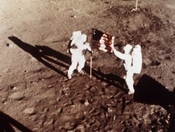Neil Armstrong and Buzz Aldrin plant the US flag on the Lunar Surface during 1st human moonwalk in history - exactly 44 years ago on July 20, 1969 during Apollo 1l mission. Credit: NASA