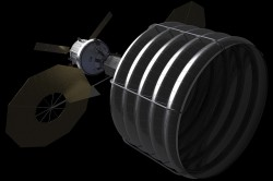 Concept of NASA spacecraft with Asteroid capture mechanism deployed to redirect a small space rock to a stable lunar orbit for later study by astronauts aboard Orion crew capsule. Credit: NASA.