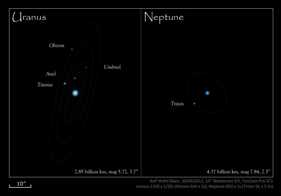 The moons of Neptune and Uranus imaged by Credit: