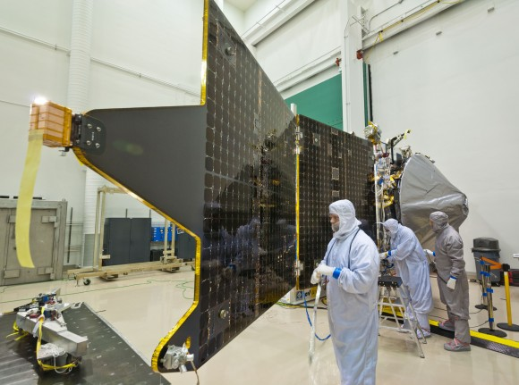 MAVEN spacecraft at a Lockheed Martin clean room near Denver, Colo. (Credit: Lockheed Martin).