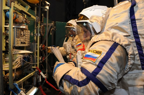 European Space Agency astronauts Alexander Gerst (left) and Samantha Cristoforetti in Russian Orlan spacesuits during training in 2012. Credit: GCTC