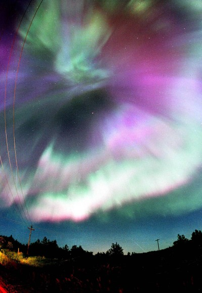 All-sky northern lights display from back in the mid-1990s. Credit: Bob King