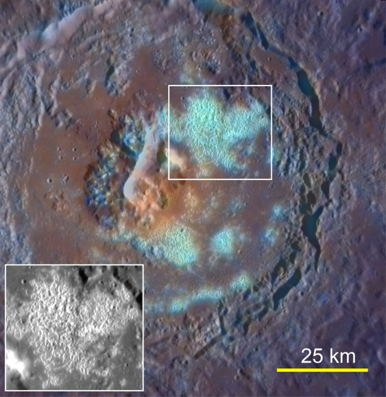 Enhanced-color image of Tyagaraja crater acquired on Sept. 29, 2011. Its large hollow field is highlighted.