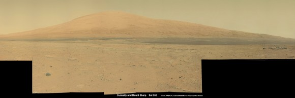 Curiosity Spies Mount Sharp - her primary destination. Curiosity will ascend mysterious Mount Sharp and investigate the sedimentary layers searching for clues to the history and habitability of the Red Planet over billions of years.  This mosaic was assembled from over 3 dozen Mastcam camera images taken on Sol 352 (Aug 2, 2013. Credit: NASA/JPL-Caltech/MSSS/ Marco Di Lorenzo/Ken Kremer