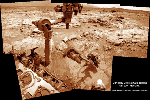 """This time lapse mosaic shows Curiosity maneuvering her robotic arm to drill into her 2nd   martian rock target named """"Cumberland"""" to collect powdery Martian material on May 19, 2013 (Sol 279) for analysis by her onboard chemistry labs; SAM & Chemin. The photomosaic was stitched from raw images captured by the navcam cameras on May 14 & May 19 (Sols 274 & 279).  Credit: NASA/JPL-Caltech/Ken Kremer/Marco Di Lorenzo"""