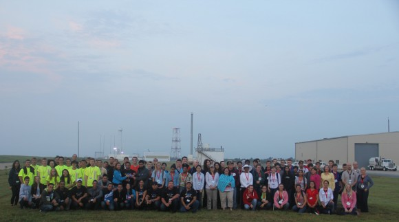 More than 40 University students and mentors participating in the Aug. 13 RockSat-X science payload pose for post launch photo op at NASA Wallops Island, VA, launch complex that launched their own developed experiments to space.  Credit: Ken Kremer/kenkremer.com