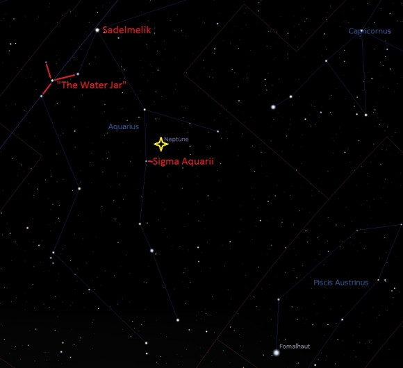 A wide field view of Aquarius with Neptune's present position in late August/early September. (Created by the author i Stellarium).