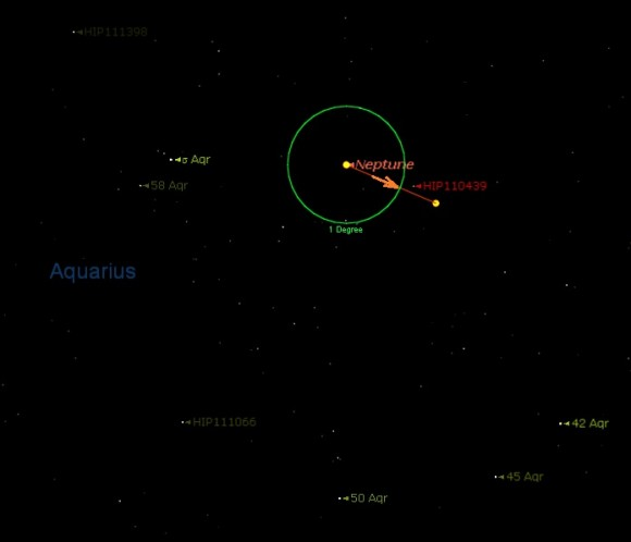 The motion of Neptune through Aquarius through late August into September. (Starry Night)
