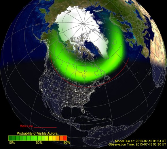 """Depiction of the northern auroral oval from the Ovation site on July 15, 2013. Southern Canada and the northern fringe of the U.S. were under the oval. The red """"view line"""" shows how far south the aurora was visible that night. Credit: NOAA"""
