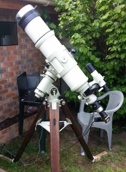 Michel Collart's telescope and imaging set up. Image courtesy Michel Collart.