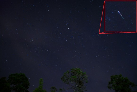 A Perseid very near the shower radiant during the 2012 shower. (Photo by author).