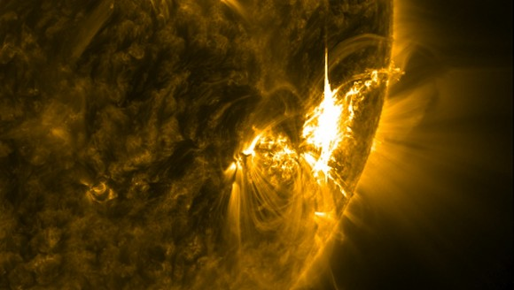 A powerful X-class solar flare erupting on the sun on July 6, 2012 photographed by the Solar Dynamics Observers. Credit: NASA