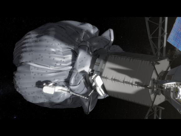 In this conceptual image, the two-person crew uses a translation boom to travel from the Orion spacecraft to the captured asteroid during a spacewalk. Credit: NASA.