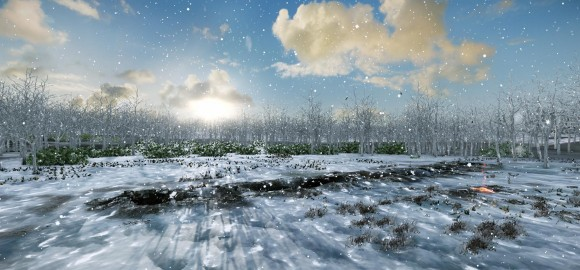Artist's conception of the Warren Field site during the winter solstice.