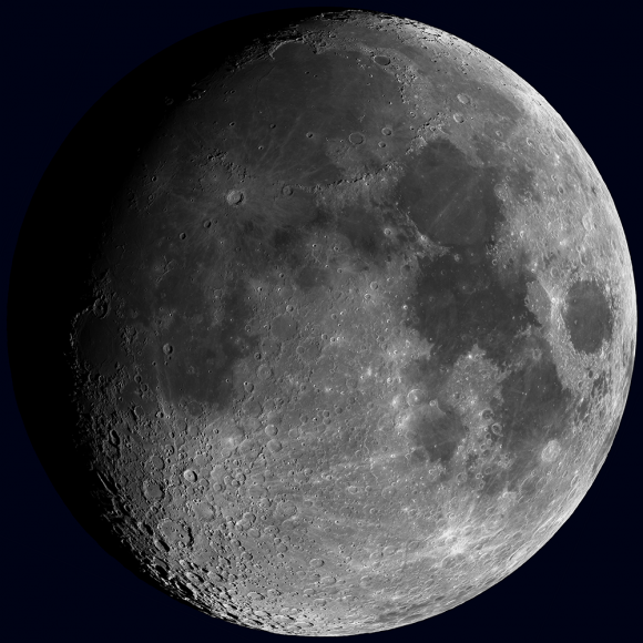 Synthetic view of the waxing Moon as viewed from Earth on 2013-10-15 17:00:00 UTC [NASA/GSFC/Arizona State University].