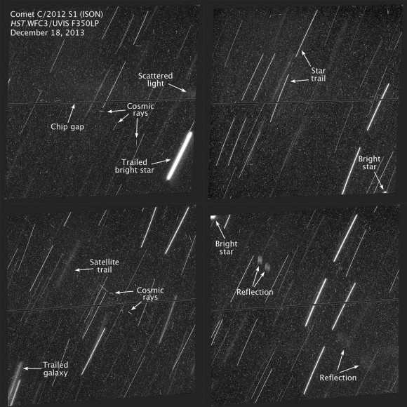 Each of the four panels is a combination of two separate exposures made by the Hubble Space Telescope as it tracked Comet ISON's position. Had the comet been in any of these frames, it would have appeared as a small fuzzy glow or stellar point(s) in the center. The stars are trailed because the camera tracked the comet. Credit: NASA/ESA