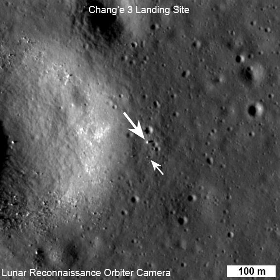 Image of Chang'e-3 (top arrow) and Yutu rover captured by NASA's Lunar Reconnaissance Orbiter on Dec. 25 UTC