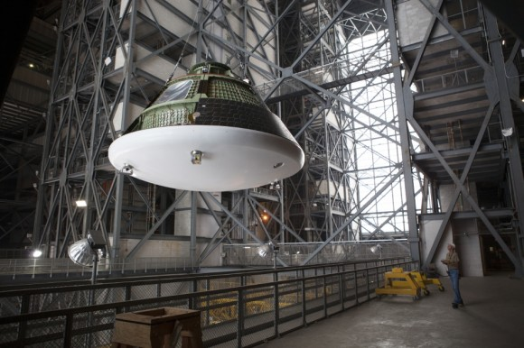 Orion moves towards its first EFT-1 spaceflight later this year. (Credit: NASA).