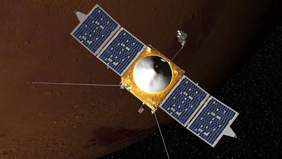 An artist concept of MAVEN in orbit around Mars. (Credit: NASA's Goddard Spaceflight Center).