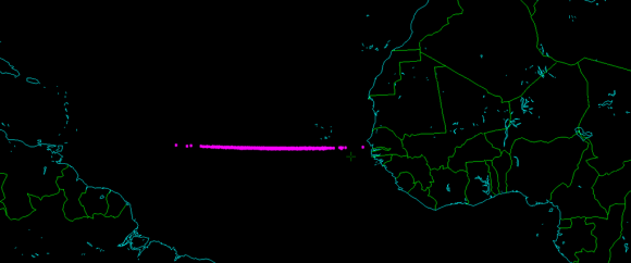 Projected path of 2014 AA south of the Cape Verde islands. (Credit: Asteroid Initiatives, LLC)