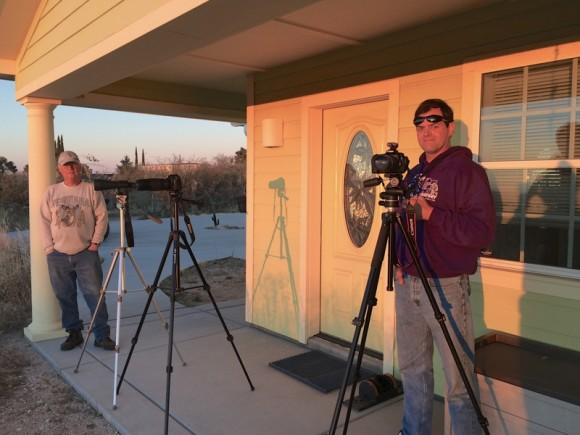 Mike Cadien (left) and Rob Sparks (right) setting up to catch the crescent Moon. Credit- Mike Weasner.