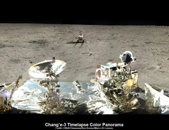 This composite view shows China's Yutu rover heading south and away forever from the Chang'e-3 landing site about a week after the Dec. 14, 2013 touchdown at Mare Imbrium. This cropped view was taken from the 360-degree panorama. See complete 360 degree landing site panorama herein. Chang'e-3 landers extreme ultraviolet (EUV) camera is at right, antenna at left. Credit: CNSA/Chinanews/Ken Kremer/Marco Di Lorenzo – kenkremer.com.   See our complete Yutu timelapse pano at NASA APOD Feb. 3, 2014:  https://apod.nasa.gov/apod/ap140203.htm