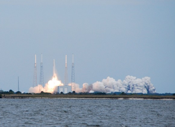 Launch of the SpaceX CRS-2 mission to the ISS in early 2013. (Photo by author).