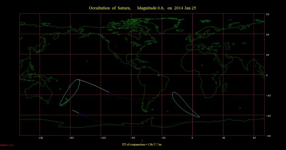 The footprint for the January 25th occultation of Saturn by the Moon. dashed lines indicate where the events occurs in the daytime sky. (Created using Occult 4.0.11 software)