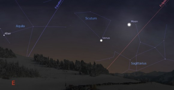 The waning crescent Moon approaches Venus on the morning of January 28th, 2014. Created using Stellarium.