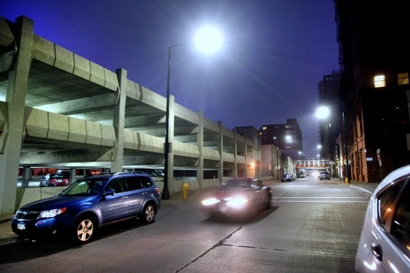 New LED lighting along Michigan Street in downtown Duluth, Minn. has brightened and whitened up the area considerably compared to the days of high-pressure sodium lighting. Credit: Bob King