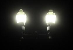 Closeup of LED ornamental light fixtures. Credit: Bob King