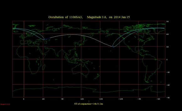 The occultation footprint for Lambda Geminorum for January 15th. (Created using Occult 4.01 software)